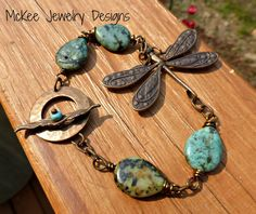 Dragonfly, metal pendant, chain and green turquoise gemstone bracelet. McKee Jewelry Designs, Andria McKee. Handmade jewelry, handcrafted. boho, bohemian, accessories