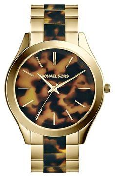 MICHAEL Michael Kors Michael Kors 'Slim Runway' Round Bracelet Watch, 42mm available at #Nordstrom <3