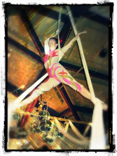 ImaginAerial's Angela Attia performs aerial silks at a wedding reception!