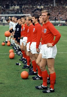 England vs. West Germany line up, 1966 World Cup Final | Jackie Charlton | Vintage Colour Sports Photography | Football