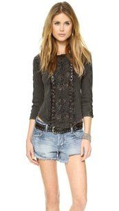 Free People Lace Scalloped Semi-sheer Top Black