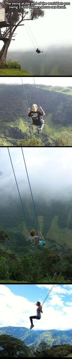 ღღ DARING!!!! 2,600 meters above sea level: The swing at the end of the world...La Casa Del Arbol in Baños, Ecuador