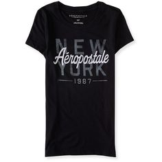 Aeropostale Aéropostale New York 1987 Graphic T (70155 PYG) ❤ liked on Polyvore featuring tops, t-shirts, black, graphic print t shirts, graphic tops, slim fit t shirts, graphic design t shirts and graphic design tees