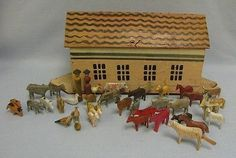 "antique noah's ark | 14"" Antique German Wooden NOAH'S ARK +37-ANIMALS & BIRDS All ..."