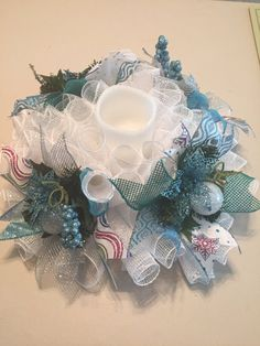 Winter Blue with a Touch of Pink White Mesh by JEMCrafty on Etsy