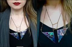 vulpes 2 polymer clay handmade geometrical necklace by BlameEve, €27.00