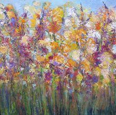 "Loving Summer  Oil on canvas  30"" x 30"". Local Chapel Hill, NC artist Peg Bachenheimer. I love her work."