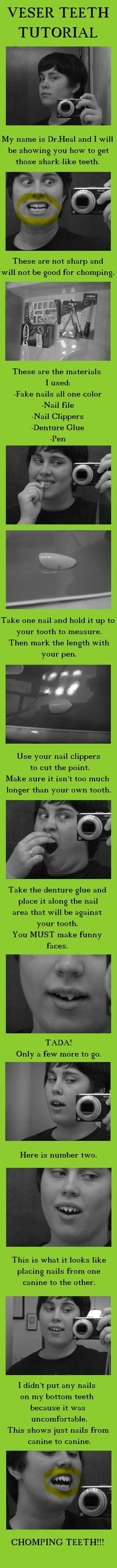 Sharp Teeth Tutorial for cosplays. Uses fake nails, nail file and clippers, and denture gel.