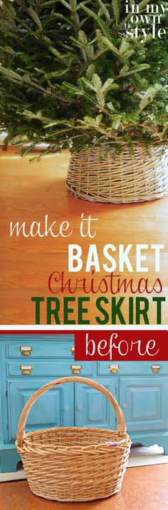 DIY: Basket Christmas Tree Collar DIY: Basket Christmas Tree Collar<br> Look what you can turn into a Basket Christmas Tree Skirt. Full step-by-step photo tutorial will show you how to make one yourself Christmas Time Is Here, Merry Little Christmas, Christmas Love, Rustic Christmas, Winter Christmas, All Things Christmas, Christmas Crafts, Christmas Decorations, Cottage Christmas