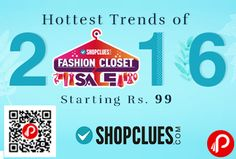 Shopclues #Bestsellers 2016 brings Fashion Closet Sale and offering Hottest Trends of 2016 in fashion categories including apparel, footwear, watches, accessories, travel & luggage and daily deals.   http://www.paisebachaoindia.com/hottest-trends-of-2016-fashion-closet-sale-starting-rs-99-shopclues/