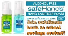 Grab some safeHands sanitizer before your kids go back to school! It's safe and alcohol free!  Plus you can enter to win great prizes here ---> http://safehands.com/btc/38592  Back to school. Share safeHands and not your germs.