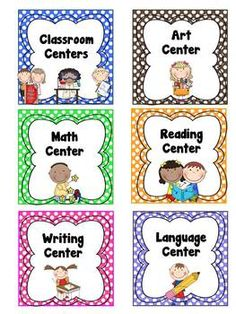 Classroom Center Labels - These classroom labels are great for creating schedules and for pocket charts. Classroom Labels, New Classroom, Classroom Rules, Classroom Setup, Preschool Classroom, Preschool Learning, Kindergarten Activities, Educational Activities, Preschool Center Signs