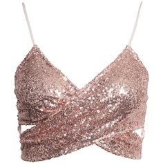 Nly One Sequin Cross Over Top ($22) ❤ liked on Polyvore featuring tops, crop tops, shirts, champagne, womens-fashion, sequin top, sequin crop top, wrap top, cut out tops and off white crop top