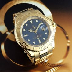 #Rolex #YachtMaster Gents ref. #16628 in 18k Yellow Gold. There is something alluring in the contrast between the yellow #gold and the blue dial.  Complete with box and papers.