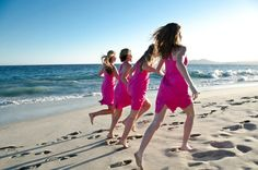 Fun bridesmaids shot on the beach at Zoetry Resorts