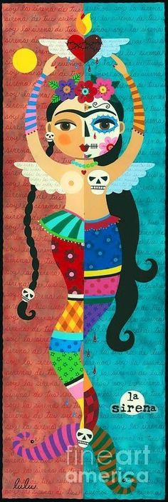 Frida Kahlo Mermaid Angel With Flaming Heart Painting by lulu. More correctly, a Frida Kahlo-inspired mermaid. Diego Rivera, Frida E Diego, Frida Art, Frida Kahlo Artwork, Illustrations, Illustration Art, Atelier D Art, Heart Painting, Poster S