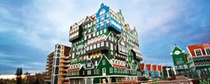 The Inntel Hotel Amsterdam Zaandam, The Netherlands  This four star hotel was designed so that it appeared to be made of 70 stacked traditional houses from the Zaan region. The inside decor was also inspired by the history of the region.