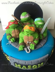 Teenage mutant ninja hero turtles cake and handmade sugarcraft cake topper.