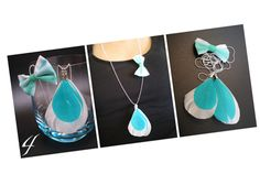 Sautoir noeud & plumes turquoise / menthe