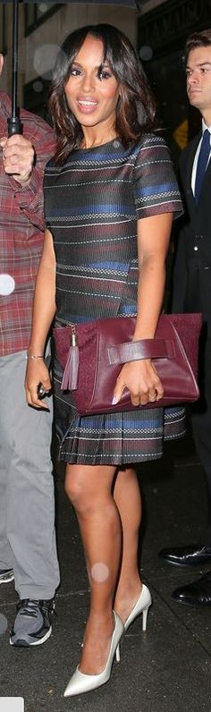 Who made Kerry Washington's red, black, white, and blue stripe short sleeve dress that she wore in New York on September 16, 2014?