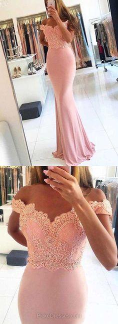 Pink Prom Dresses,Long Prom Dresses,2018 Prom Dresses For Teens,Sheath/Column Prom Dresses Off-the-shoulder,Chiffon Prom Dresses Beading