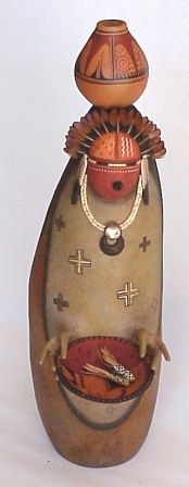Gourd Figure Carrying Bowl by Bonnie Gibson