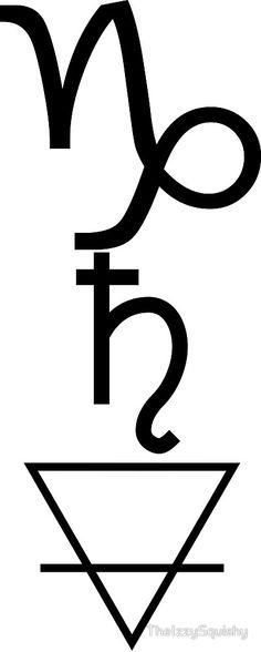 'Capricorn Saturn Earth' by TheIzzySquishy Capricorn Sign Tattoo, Capricorn Symbol, Capricorn Aquarius Cusp, Zodiac Sign Tattoos, Astrology Tattoo, Saturn Tattoo, Saturn Sign, Tattoo Ideas, Tattoo Designs