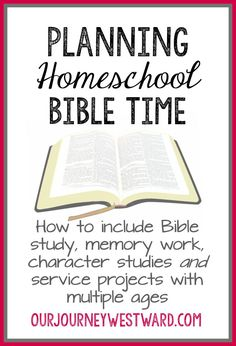Planning Homeschool Bible Time Bible is an important subject! Planning homeschool Bible time will ensure your children get in the Word, build Christian character and serve others. Bible Study For Kids, Kids Bible, Toddler Bible, Preschool Bible, Preschool Lessons, Bible Activities, Learning Activities, Church Activities, Preschool Learning