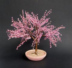Cherry Blossom Bonsai  Beaded Bonsai tree by copperglass on Etsy