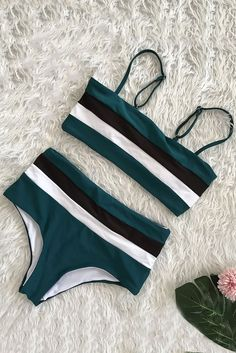 Women Dark-green Color Block Stripe Padded High Waist Sexy Bikini - M Source by bathing suits high wasted Bathing Suits For Teens, Summer Bathing Suits, Swimsuits For Teens, Bathing Suit Bottoms, Cute Bathing Suits, Cute Swimsuits, Women Swimsuits, Summer Suits, Tight Swimsuit