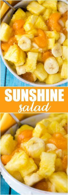 Salad Sunshine Salad - A delicious fruit salad that is only 2 Weight Watcher's Points Plus per one cup serving.Sunshine Salad - A delicious fruit salad that is only 2 Weight Watcher's Points Plus per one cup serving. Delicious Fruit, Yummy Snacks, Healthy Snacks, Healthy Recipes, Fruit Snacks, Healthy Fruits, Dessert Healthy, Dessert Salads, Dessert Recipes