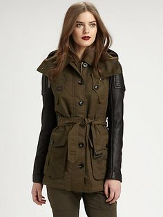 Burberry Brit - Leather-Sleeved Parka - The sleeves are pebbly Spanish lambskin, the body is a weather-ready cotton/nylon blend, and the details are trench-like in this multi-dimensional design. 11-12-13 HKD14500