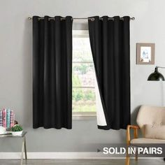 Sweet-Tempered 2 Panel Pair Blackout Curtains Thermal Insulated Darkening Curtain 52 X 63 84 95 Curtains, Drapes & Valances Home & Garden