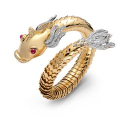 Nemo bracelet in yellow gold with diamonds and rubies, Roberto Coin Dragon Jewelry, Horse Jewelry, Bird Jewelry, Coin Jewelry, Animal Jewelry, Jewelry Accessories, Jewelry Design, Sea Jewelry, Jewellery