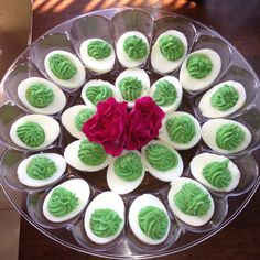 Homemade deviled eggs, St. Patrick's day style!!