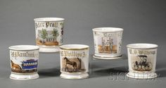 Five Victorian Enamel Decorated Shaving Mugs