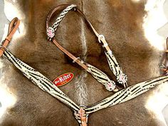 HORSE BRIDLE WESTERN LEATHER HEADSTALL BREASTCOLLAR ZEBRA TACK PINK CROSS H82