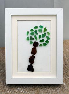 Sea Glass Art, Tree 3rd grade?? driftwood frame?