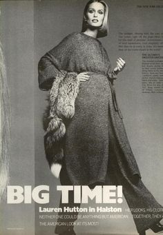 US Vogue September 1975 Big-Time! - Lauren Hutton wears Halston Photo Francesco Scavullo