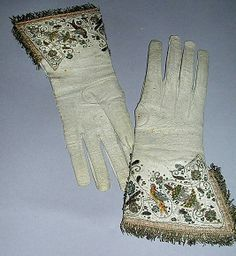 17th century gloves, British, made of leather, metal thread and silk, The Metropolitan Museum of Art
