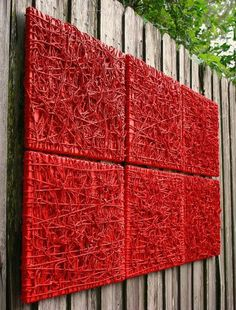 Artist D. Mccoy. Entanglement Red is made from natural string glued on to canvas and painted with red acrylic paint, the paint has hardened and made the string fuse together. It has a unique texture that produces a 3d look. There are 6 pieces to this artwork with a size of 20x16 each. It is registered with FAR (fine arts registry) and a Far Tag is attached to the back of one of the pieces. All the pieces are signed on the back. $500