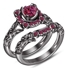 1.10 CT 14k Black Gold Plated Pink Sapphire Round Womens Wedding Bridal Ring Set #aonejewels