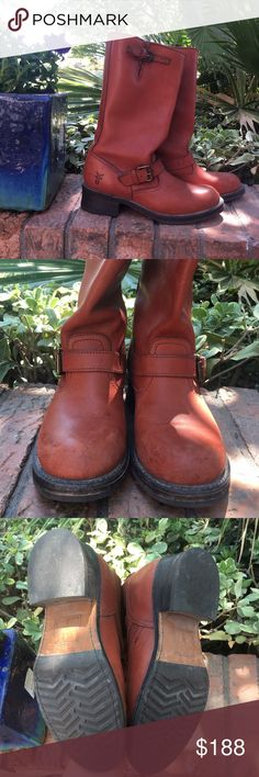 "FRYE boots Frye boots in Cognac (orange, brown) color. There are two buckles one at calf and one at ankle. Only worn once or twice but there are some signs of wear (shown in photos). They are otherwise in great condition. Heel is about an 1 1/2"" Frye Shoes Combat & Moto Boots"