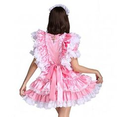 Gocebaby-Sissy-Girl-Maid-Satin-Pink-Lockable-Dress-Costume-Uniform-Crossdressing-0-5