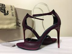 Burberry Larkspur Berry Leather Women's Ankle Strap Heels Sandals Size 37 / 7 M #Burberry #AnkleStrapHeelsSandals #Casual