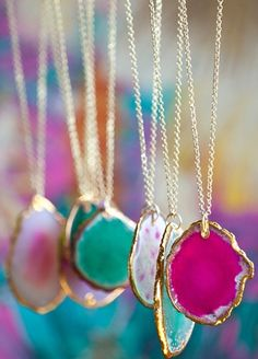 Agate Necklaces in Light Pink, Hot Pink, and Turquiose colors.