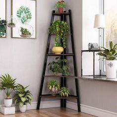 Corner Ladder Shelf, Corner Shelving Unit, Corner Bookshelves, Bookcase Storage, Ladder Shelf Decor, Storage Rack, Corner Plant Shelf, Tree Bookcase, Wooden Bookcase