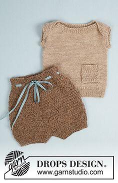 Baby Knitting Patterns, Knitting For Kids, Baby Patterns, Free Knitting, Drops Design, Crochet Baby, Knit Crochet, Baby Bloomers Pattern, Drops Baby