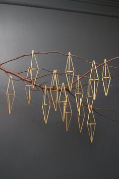 me + She by meginsherry Set of 3 brass ornaments based on traditional Scandinavian himmeli mobiles. minimalist and geometric holiday decor.