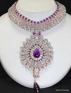 Purple bling necklace